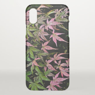 "PINK AND GREEN POINTY  LEAVES WITH WINDSWEPT LOOK"" iPhone X CASE"