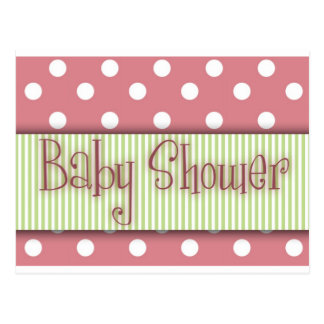 Pink and green polka dot Baby Shower Postcard