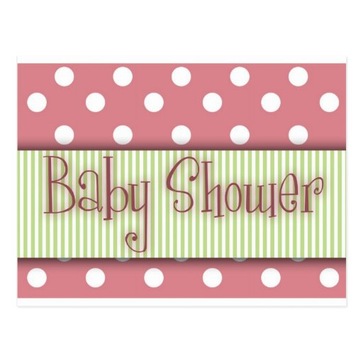 Pink and green polka dot Baby Shower Post Cards