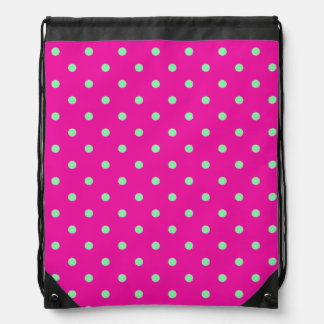 Pink and Green Polka Dot Backpack
