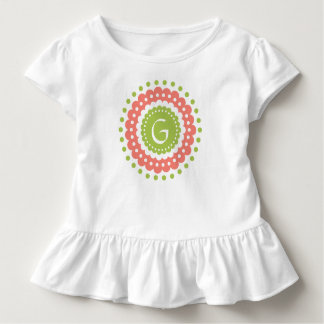 Pink and Green Polka Dot Flower Monogram Toddler T-Shirt