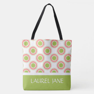 Pink and Green Polka Dot Flowers Personalized Tote Bag
