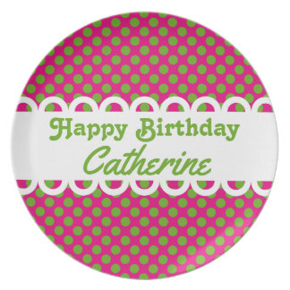 Pink and Green Polka Dot Happy Birthday Plate
