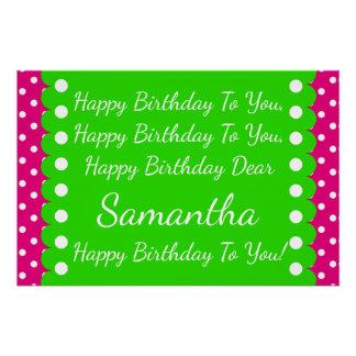 Pink and Green Polka Dot Happy Birthday Song