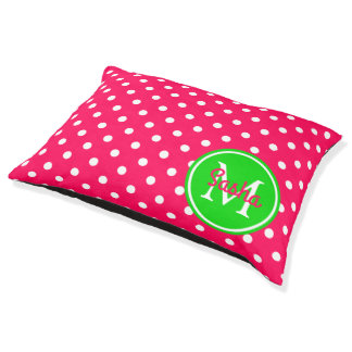 Pink and Green Polka Dot Monogram Pet Bed