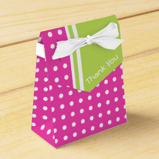 Pink and Green Polka Dot Personalized Thank You Favour Box