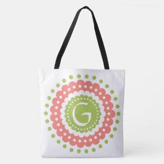 Pink and Green Polka Dot Tile Monogram Tote Bag