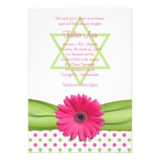 Pink and Green Polka Dots Bat Mitzvah Invitation