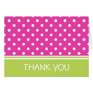 Pink and Green Polka Dots Thank You Card