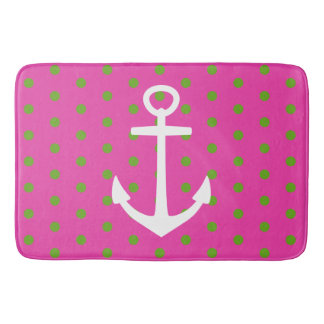 Pink and Green Polka Dots With White Anchor Bath Mat
