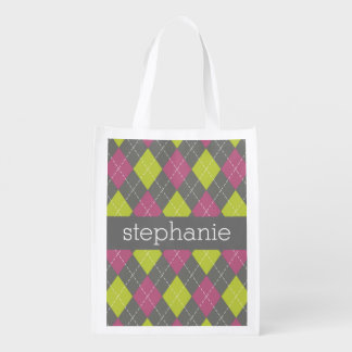 Pink and Green Preppy Argyle Plaid Pattern