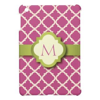 Pink and Green Quatrefoil Monogram iPad Mini Case