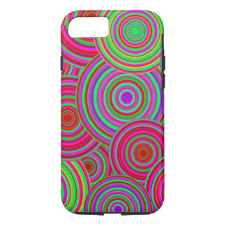 Pink and Green Retro Circles Pattern iPhone 7 Case