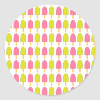 Pink and Green Retro Popsicles Classic Round Sticker