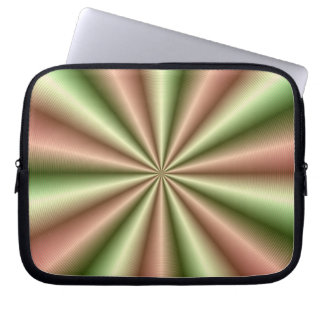Pink and Green Ribbed Pleat Sleeve Laptop Computer Sleeves