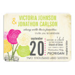 Pink and Green Rose Your Photo Typography 13 Cm X 18 Cm Invitation Card