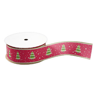 Pink and Green Snow and Trees Ribbon Grosgrain Ribbon