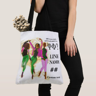 Pink and Green Sorority Black Art Tote Bag