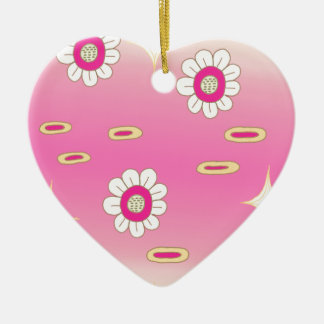 Pink and green sparkly floral pattern ceramic ornament