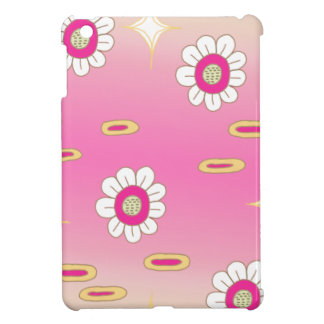 Pink and green sparkly floral pattern iPad mini case