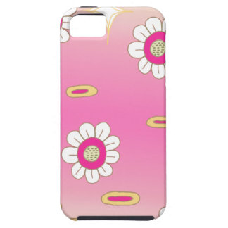 Pink and green sparkly floral pattern iPhone 5 case