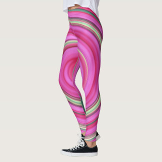 Pink and green spiral leggings