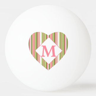 Pink and Green Spring Stripe Monogrammed Heart Ping Pong Ball