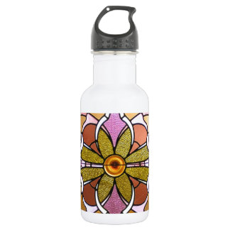 Pink and green stained glass 532 ml water bottle