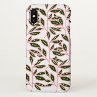 Pink and Green Stem Plant iPhone X Glossy Case