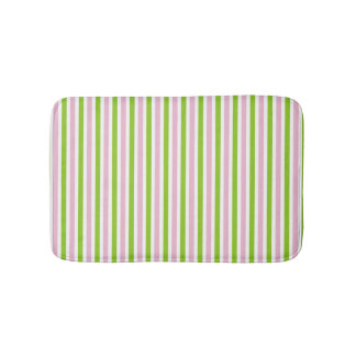 Pink and green striped pattern spring colors bath mat