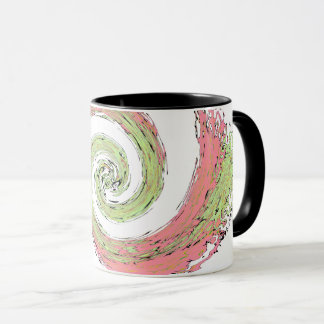 Pink and Green Swirling Abstract Mug