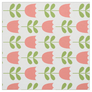 Pink and Green Tulips on White Fabric