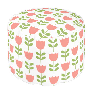 Pink and Green Tulips on White Pouf