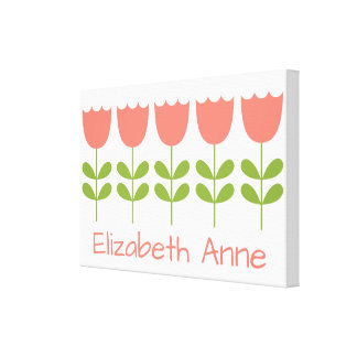 Pink and Green Tulips Personalized Canvas Print