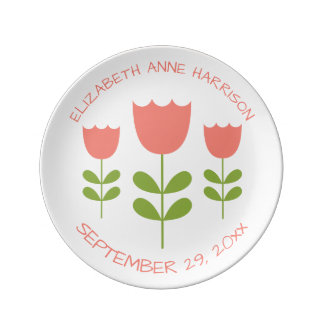 Pink and Green Tulips Personalized Keepsake Plate