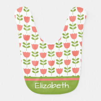 Pink and Green Tulips Personalized Reversible Bib