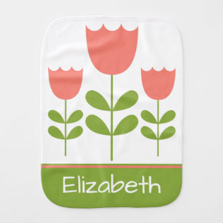 Pink and Green Tulips Personalized Reversible Burp Cloth