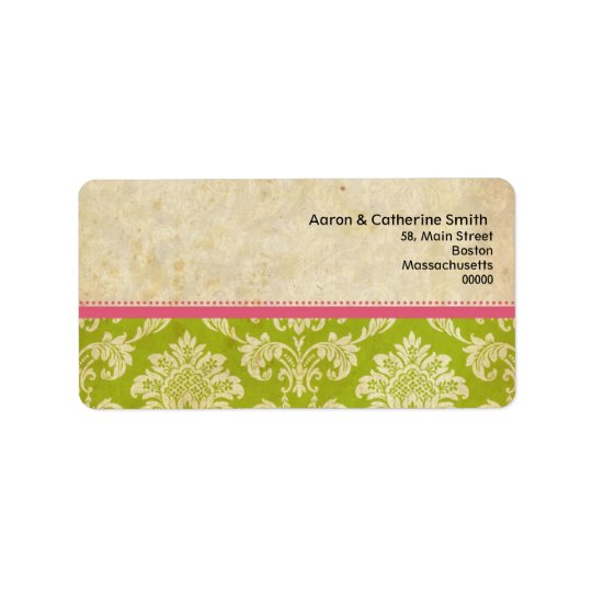 Pink and Green Vintage Damask Address Labels