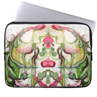 Pink and Green Watercolor Desgined Laptop Sleeve