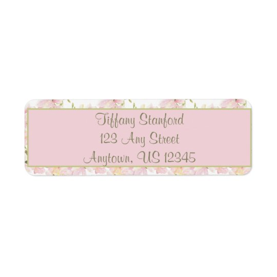 Pink and Green Watercolor Flowers   Personalised Return Address Label