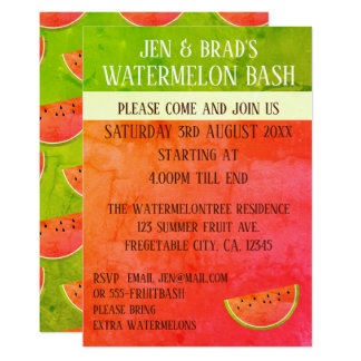 Pink and Green Watermelon Bash Party Invitation