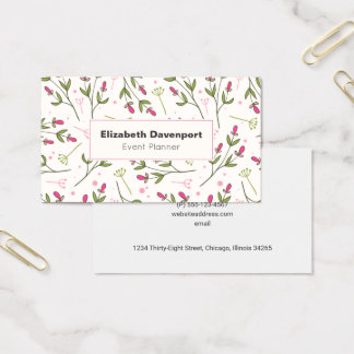 Pink and Green Wildflowers Pattern Business Card