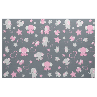 Pink and Grey Baby Elephant Pattern Print Fabric