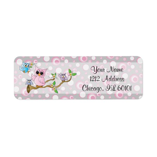 Pink and Grey Baby Owl | Shower Theme Return Address Label