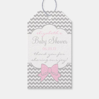 Pink and Grey Baby Shower Guest Favor Thank You