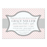 Pink and Grey Baby Shower Invitation