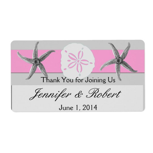 Pink and Grey Band Wedding Water Bottle Label Shipping Label