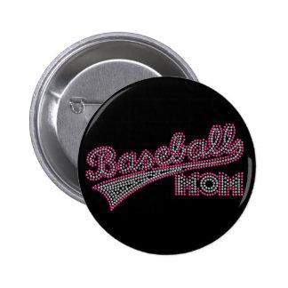 Pink and Grey Baseball Mom Button