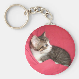 Pink and Grey Basic Round Button Key Ring