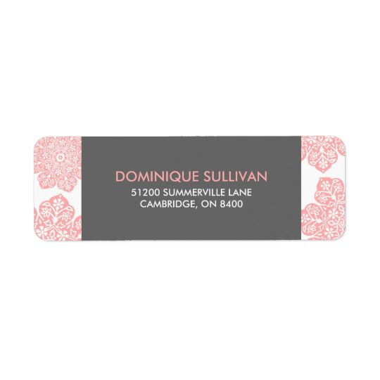 Pink and Grey Batik Flowers Return Address Label